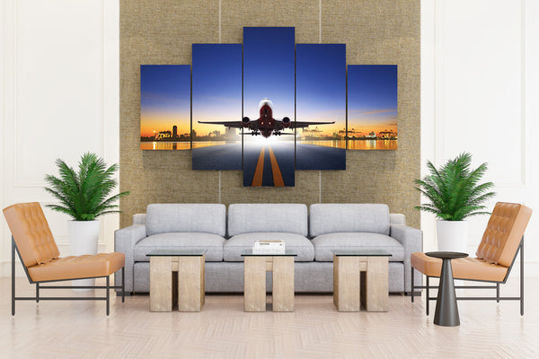 Airplane Runway - 5 piece Canvas - EpicKanvas