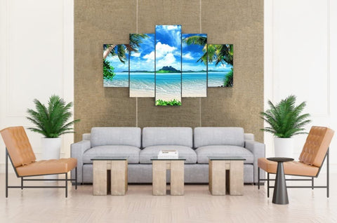 5PCS Framed Island Oasis Canvas Prints - 5 Piece Canvas Beach View Artwork Canvas Island Oasis Paintings on Canvas Wall Art for Office and Home Wall Decor