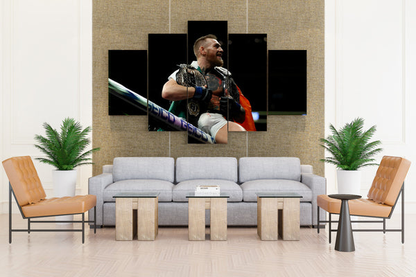 Mcgregor w/ His Winning Prize - 5 piece Canvas