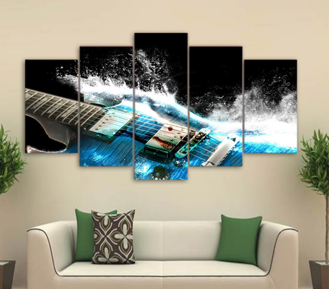 ... 5PCS Musical Instruments Wall Art Canvas Prints Painting   5 Piece Guitar  Canvas