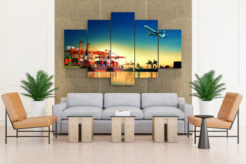 Airplane, Ship Dock & Container - 5 piece Canvas - EpicKanvas
