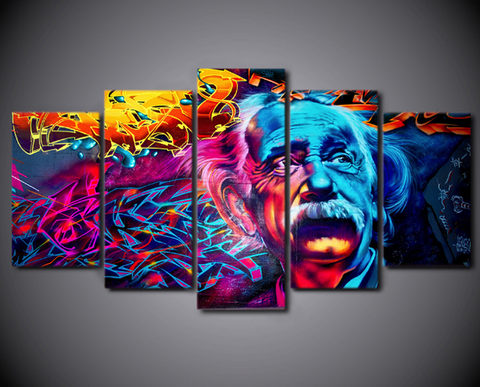 5 Pcs Albert Einstein Abstract Canvas - 5 piece Most Intelligent Man On Planet Canvas For Your Home/Office Room