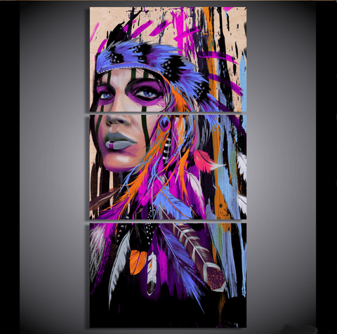 3 Pcs American Indian Female in Purple Canvas Artwork - 3 piece Native Indian Art For Your Home & Office Wall Decor - EpicKanvas