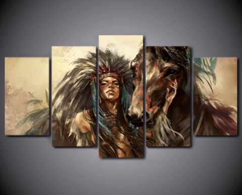 5PCS Framed American Indian w/ Horse Canvas Native Indian Culture Wall Art for Office and Home Wall Decor