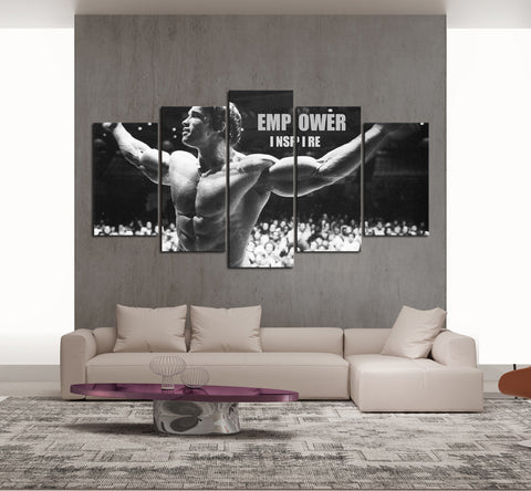 Empower & Inspire-Arnold Schwarzenegger Muscle - 5 piece Framed Canvas - EpicKanvas