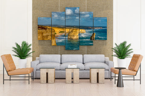 Victoria, Australia: Scenic Coastal View In Great Ocean Road - 5 piece Canvas