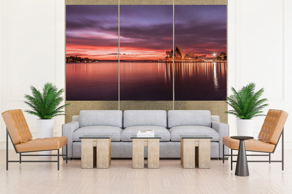 Australia: Sydney Opera House Sunset - 3 panel/piece Canvas
