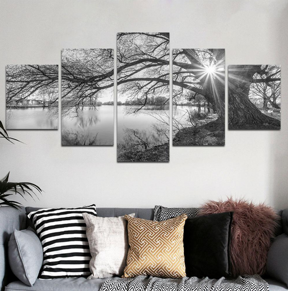 5 Pcs BLACK & WHITE LAKE Abstract Canvas For Your Home/Office Room