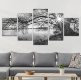 5 Pcs BLACK & WHITE LAKE Abstract Canvas For Your Home/Office Room - EpicKanvas