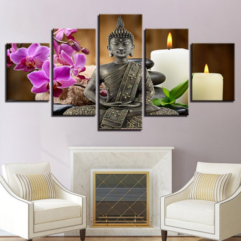 Buddha Candles - 5 piece Canvas