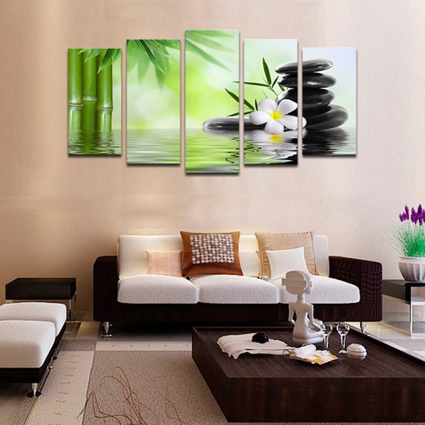 Bamboo and Stones - 5 piece Canvas