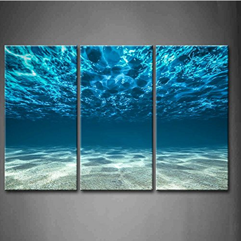 3 Pcs Framed Beach Blue Turquoise Wave Under Water Prints - 3 piece Below Water Look Out Canvas for Home/Office Decor