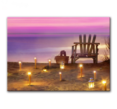 One Piece Framed Modern LED Beach Canvas For Home/Office Decor