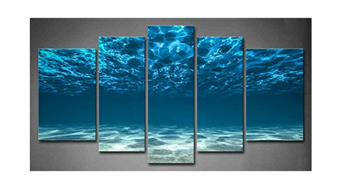 5Pcs Framed Beach Blue Turquoise Wave Under Water Prints - 5 piece Below Water Look Out Canvas for Home/Office Decor