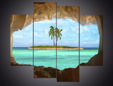 4PCS Framed Beach Ocean View From Cave Canvas Wall Art for Office and Home Wall Decor