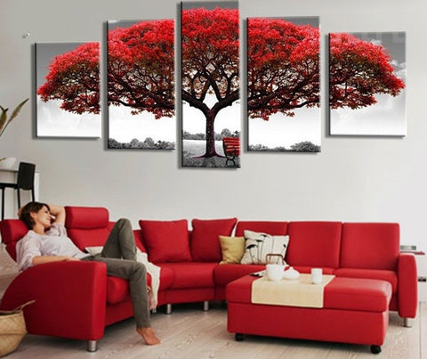 Big Red Tree In The Wild - 5 piece Canvas - EpicKanvas