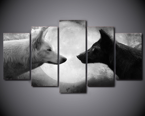 5pcs Framed Black White Wolves Canvas Animal Art For Office And Home Wall Decor - EpicKanvas