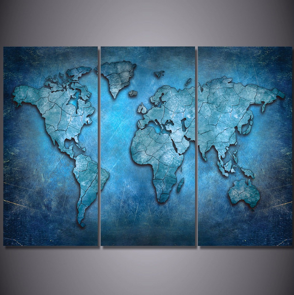 3 Pcs Framed Blue World Map Canvas Prints 3 Piece Canvas For Home