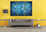 3 Pcs Framed Blue World Map Canvas Prints - 3 piece Canvas For Home/Office Room