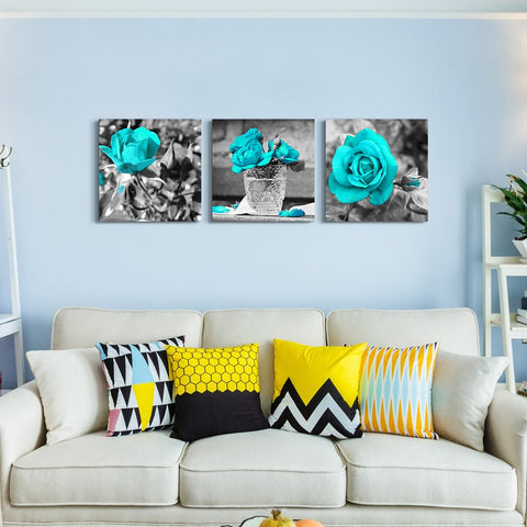 Epikkanvas Empowered Living - 3 Pcs Framed Blue Rose for Your Home/Office Space Decor