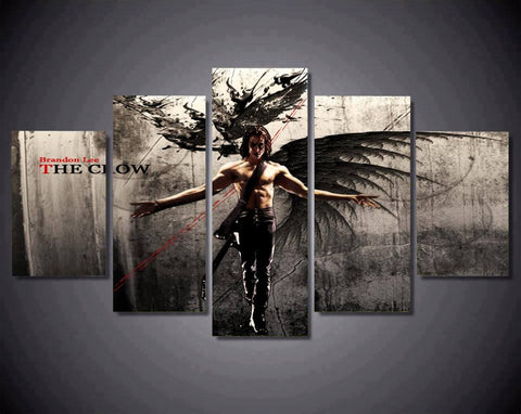 5PCS Brandon Bruce Lee The Crow Canvas Prints Colorful American Actor Pictures on Canvas Wall Art for Office and Home Wall Decor