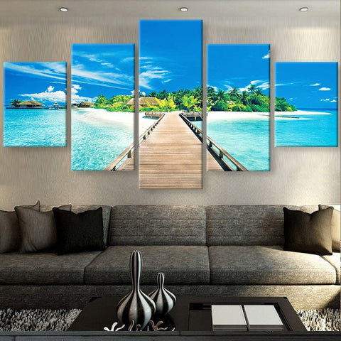 Bridge To Paradise Canvas For Home/Office Decor - 5 piece Canvas