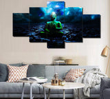 5 Piece Framed Canvas Professionally Designed Blue Buddha For Home and Office Decor - EpicKanvas