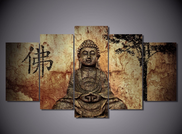 Buddha in Meditation in China - 5 piece Canvas