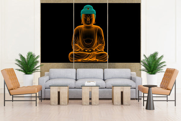 Golden Buddha - 3 piece Canvas