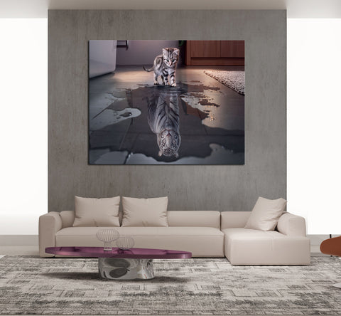 1 Piece Framed You Are Powerful Canvas - 1 piece Baby Tiger Reflection Canvas - EpicKanvas