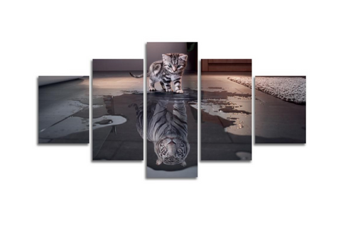5 Pcs Framed You Are Powerful Canvas - 5 piece Baby Tiger Reflection Canvas