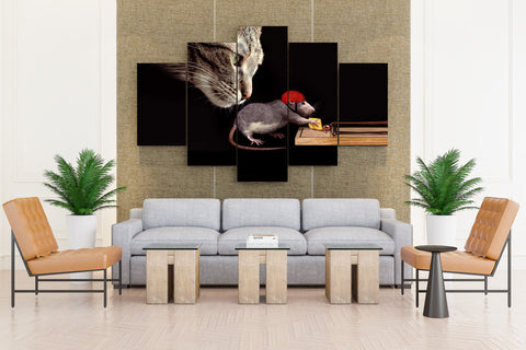 Cat, Rat in Helmet After Cheese - 5 piece Canvas