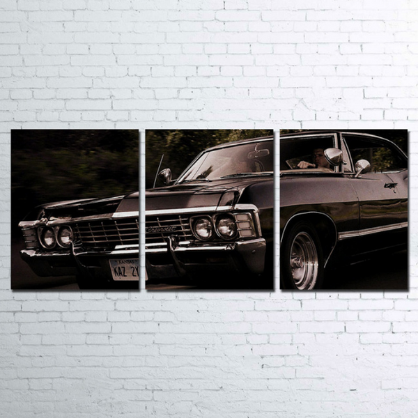 3 Pcs Framed Classic Chevrolet Canvas Chevy 1968 Car Artwork for your Home/Office Space