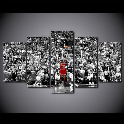 Framed 5 Piece Chicago Bulls Michael Jordan Power Canvas - 5 piece Michael Jordan Artwork - EpicKanvas