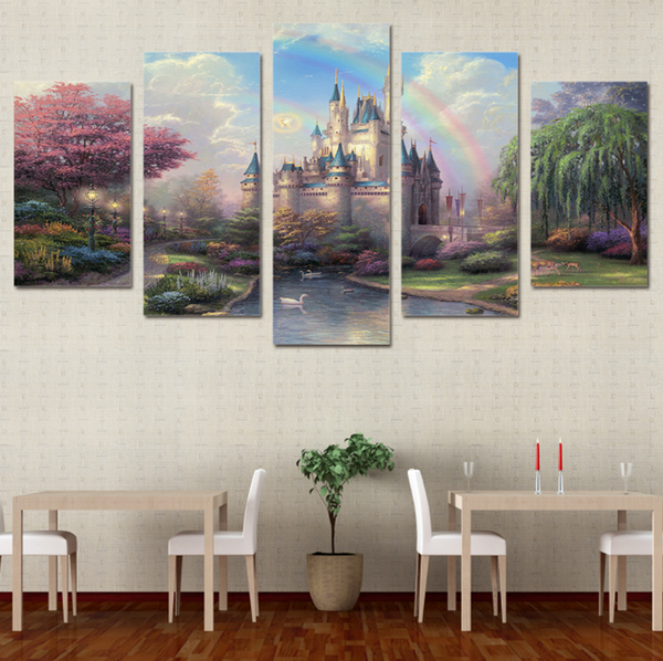 5 PCS Framed Cinderella Castle Canvas Painting/Prints - 5 PCS Framed Cinderella Castle Canvas For Home/Office Room Wall Decor