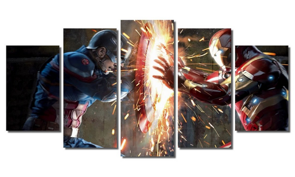5 Piece Framed Marvel Captain vs Stark Artwork Civil War on Wall Art for Office and Home Wall Decor