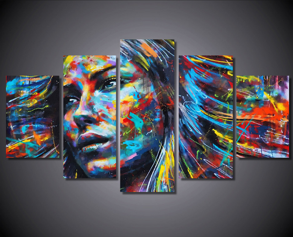 5 Piece Framed Colorful Haired Abstract Woman Canvas