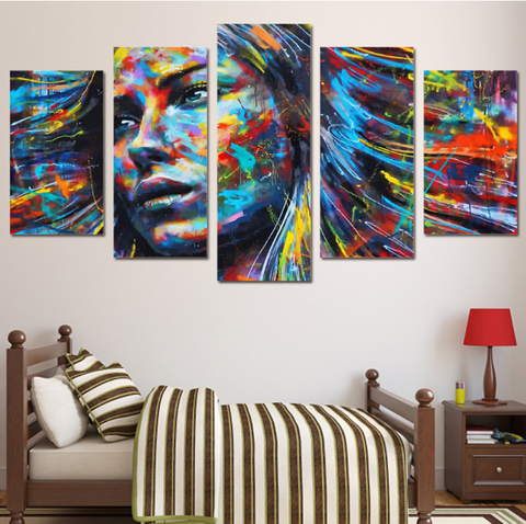 5 Piece Framed Colorful Haired Abstract Woman Canvas Prints on Wall Art for Office and Home Wall Decor … - EpicKanvas