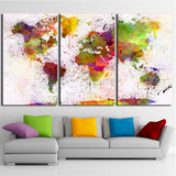 3 Pcs Framed Colorful World Map Canvas Prints - 3 piece Canvas For Home/Office Room