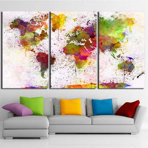 3 Piece Canvas World Map.3 Pcs Framed Colorful World Map Canvas Prints 3 Piece Canvas For