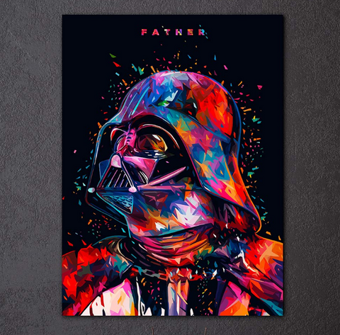 Framed Colorful 1 Piece Darth Vader Father Canvas