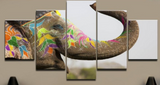 Colorful Elephant Ready For The Parade In India - 5 piece Canvas
