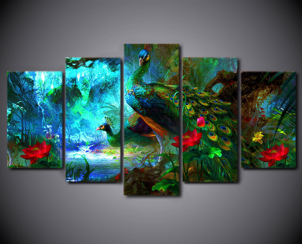 Home Office Sets Painted Office 5 Piece: 5 Piece Framed Colorful Peacock Canvas Art