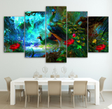 5 Piece Framed Colorful Peacock Canvas Print - 5 Piece Canvas Peacock Artwork Bird Painting On Wall Art For Office & Home Decor