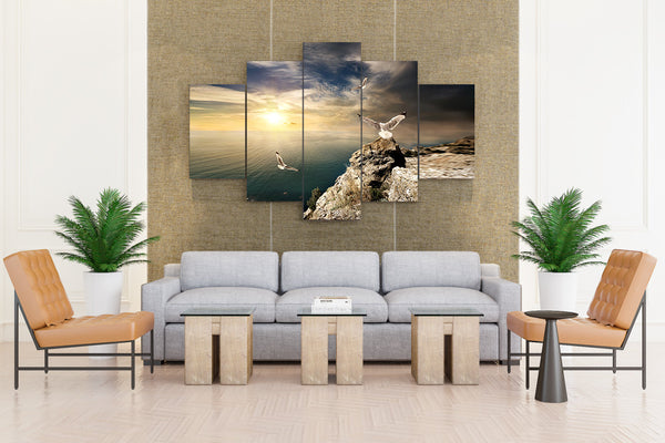 Crimea Russia Gull Sunrise/Sunset - 5 piece Canvas - EpicKanvas