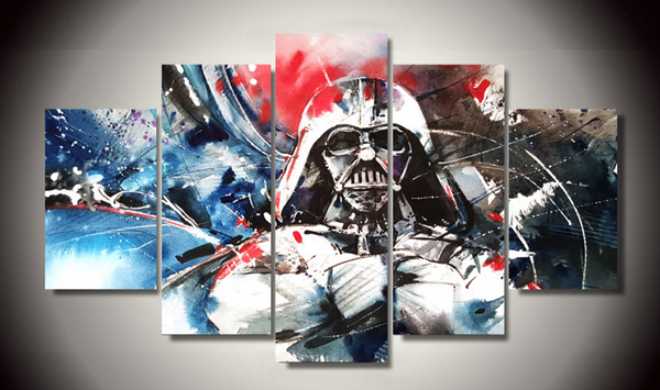 Framed Canvas Star Wars Darth Vader Painting - 5 Piece Canvas
