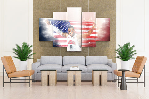 5 Piece Lebron James With USA Flag Canvas - EpicKanvas