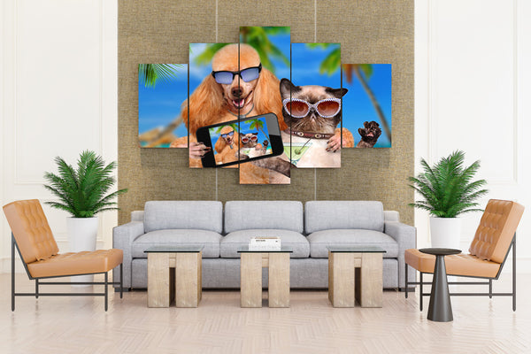Dog & Cat on Sunglass Taking Selfie - 5 piece Canvas - EpicKanvas