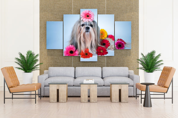 Gerberas Shih Tzu - 5 piece Canvas