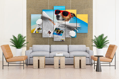 Jack Russell Terrier Reading - 5 piece Canvas